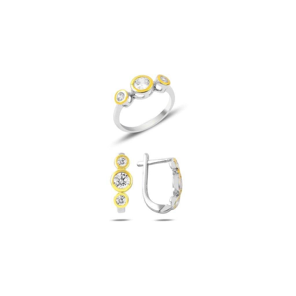 Súprava šperkov náušnice a prsteň so zirkónmi
