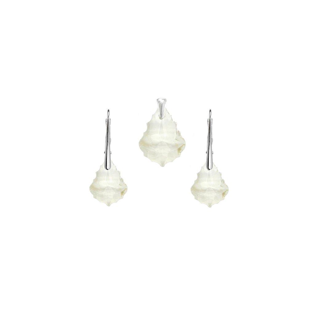 Prívesok a náušnice Barok Made With Swarovski Crystals biela farba