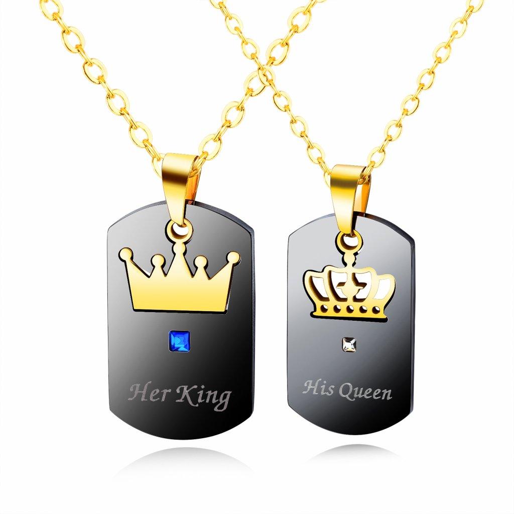Prívesky His Queen & Her King čierno zlaté s retiazkou