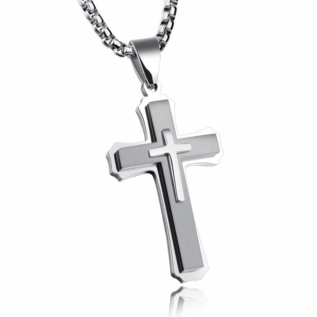 Prívesok kríž z chirurgickej ocele 4