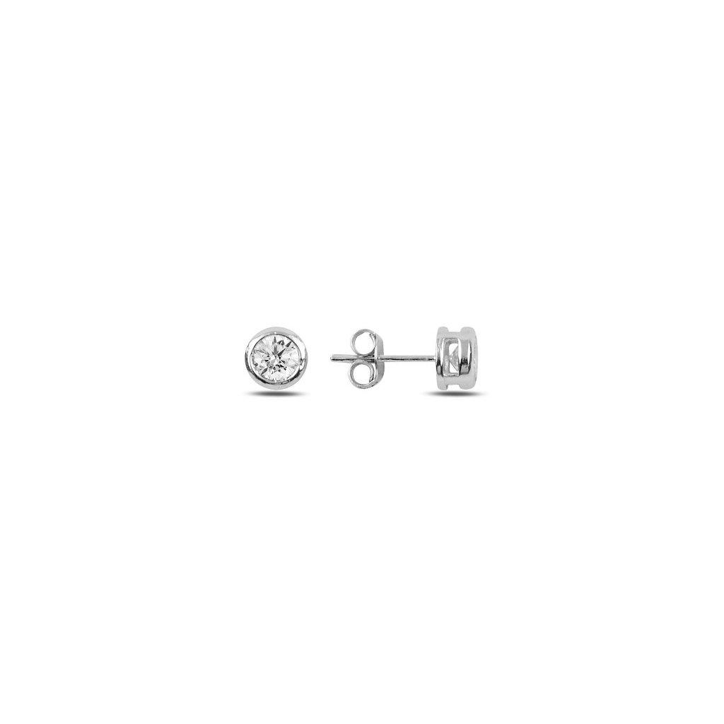 Strieborné náušnice so zirkónom 5 mm
