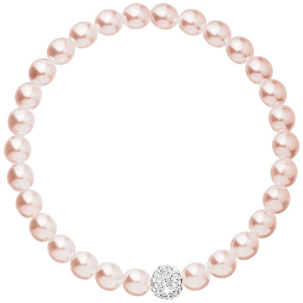 Perlový náramok Swarovski ružový s guličkou