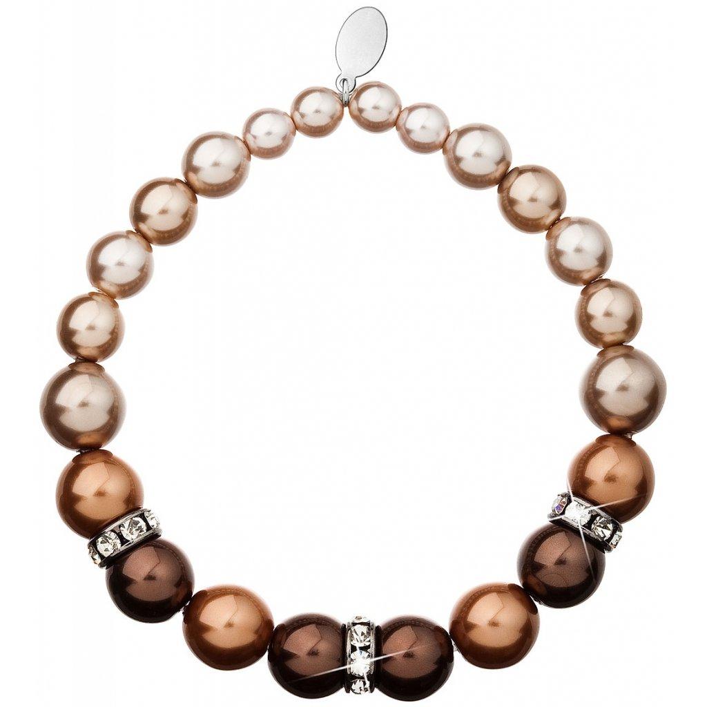 Perlový náramok Brown so Swarovski Crystals
