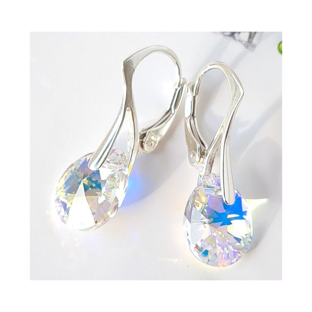 Swarovski Crystals strieborné náušnice Pear Crystal Aurore Boreale 12 mm veľkosť