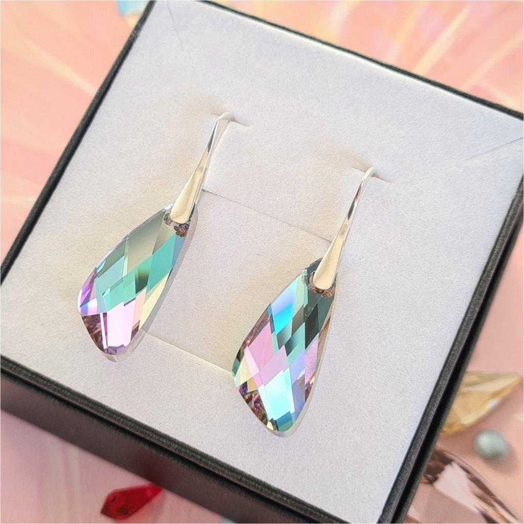 Swarovski Crystals strieborné náušnice wing CVL