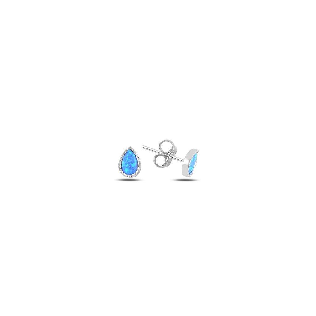 Strieborné náušnice s modrým opálom v tvare kvapky 7 x 5
