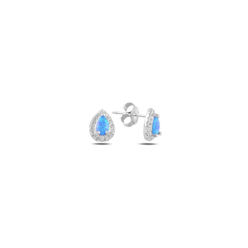 Náušnice s modrým opálom a zirkónmi 10 x 7