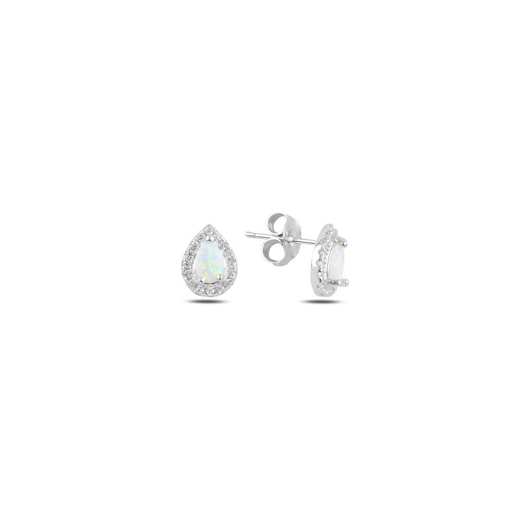 Náušnice s bielym opálom a zirkónmi 10 x 7