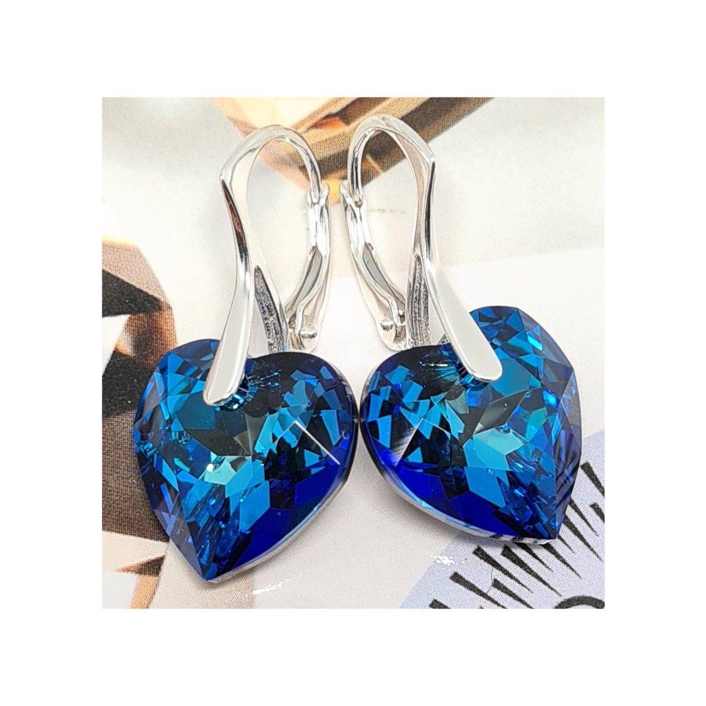 Swarovski Crystal exkluzívne strieborné náušnice s očarujúcim leskom Bermuda Blue 18 mm