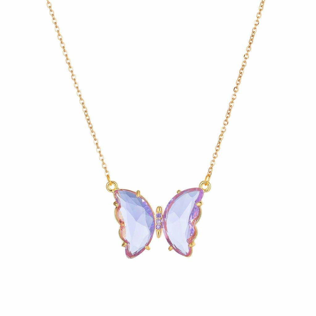 Prívesok s retiazkou motýľ purple