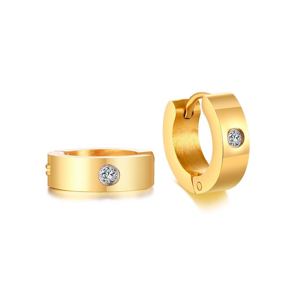 Náušnice zlatej farby z chirurgickej ocele kruhy 13 mm so zirkónom