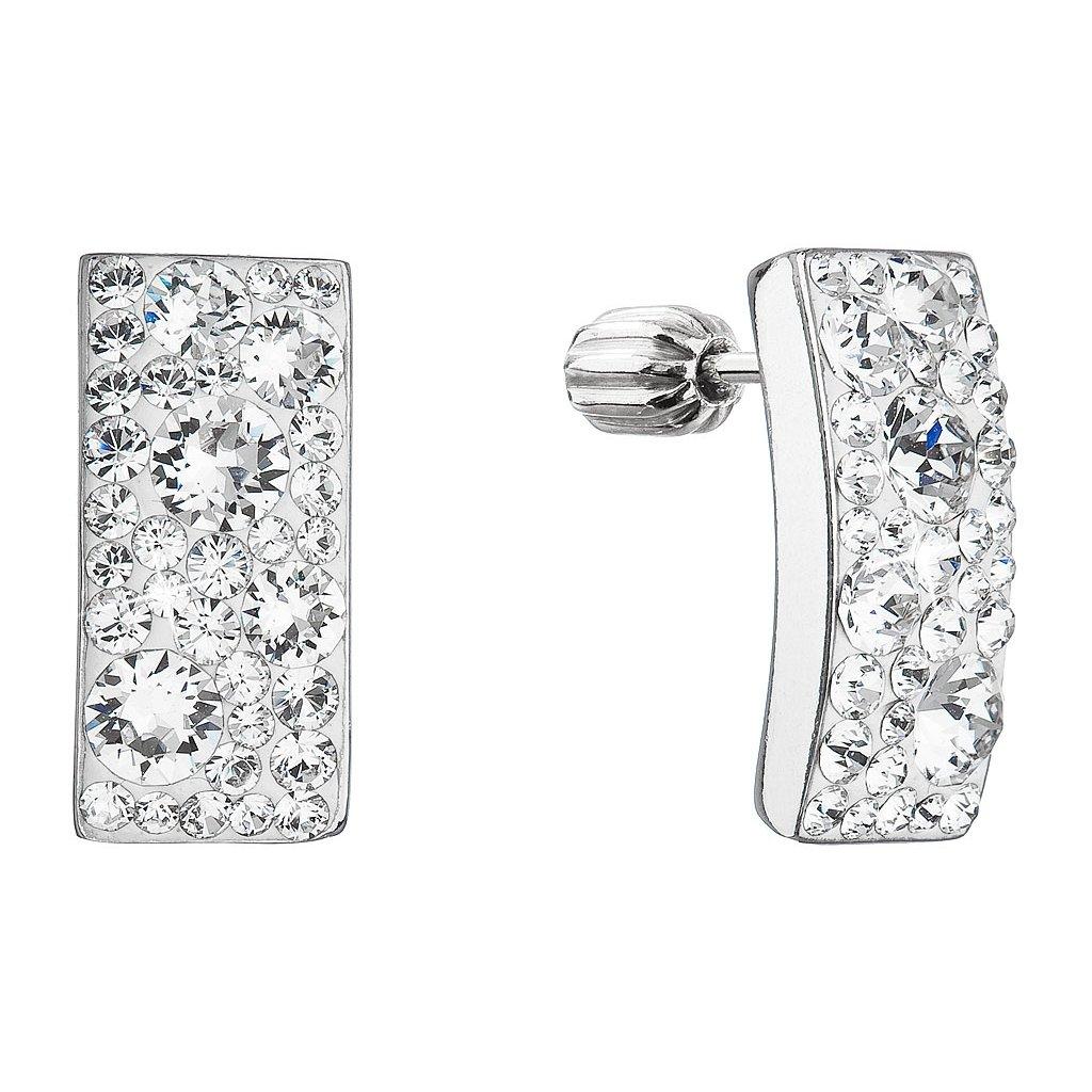 Strieborné náušnice so Swarovski Crystals obdĺžnik - crystal
