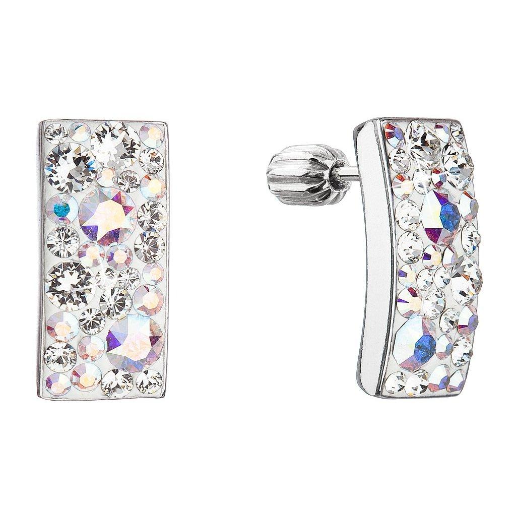 Strieborné náušnice so Swarovski Crystals obdĺžnik - crystal ab