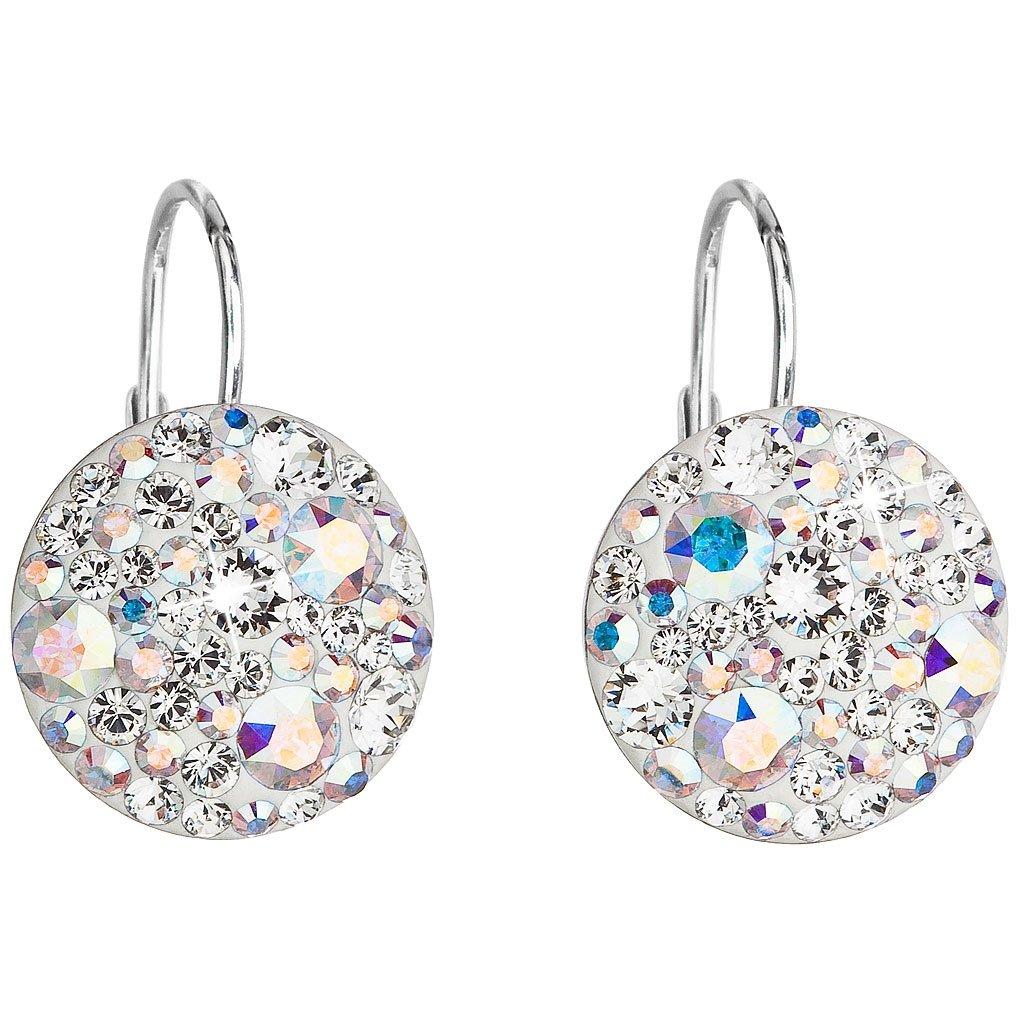 Strieborné náušnice so Swarovski Crystals okrúhle - crystal ab