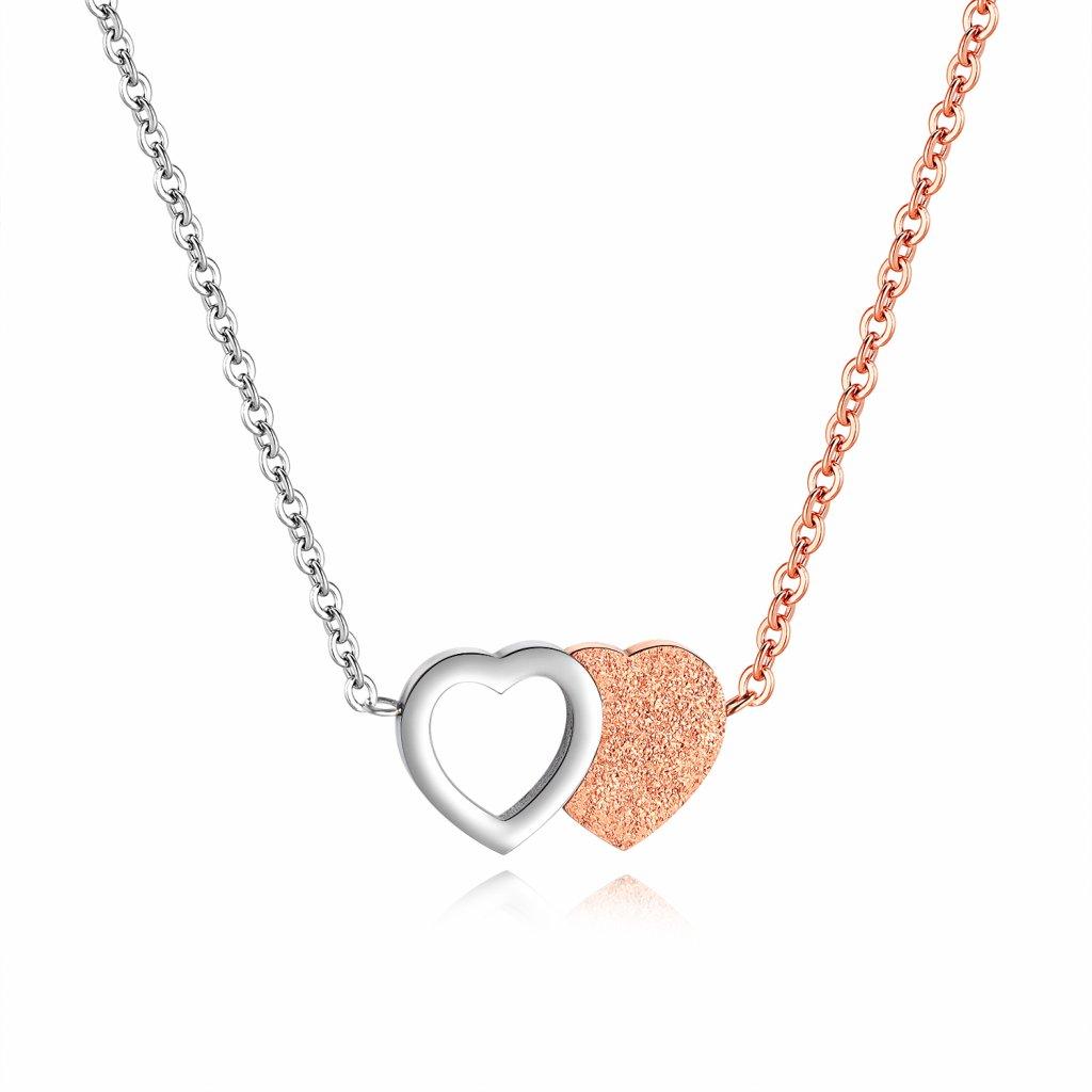 Náhrdelník z chirurgickej ocele spojené srdcia