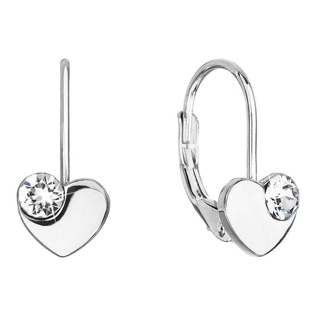 Dievčenské strieborné náušnice v tvare srdca so Swarovski Crystals