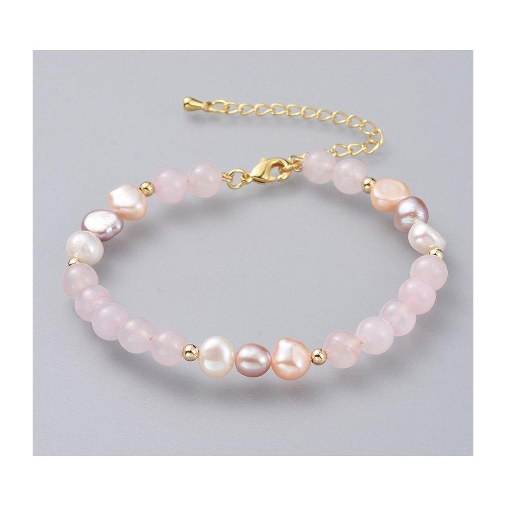 Dámsky perlový náramok s ruženínom 1