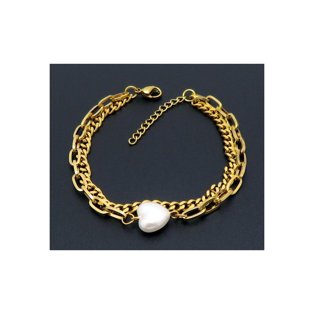 Dámsky náramok s perlou v tvare srdca