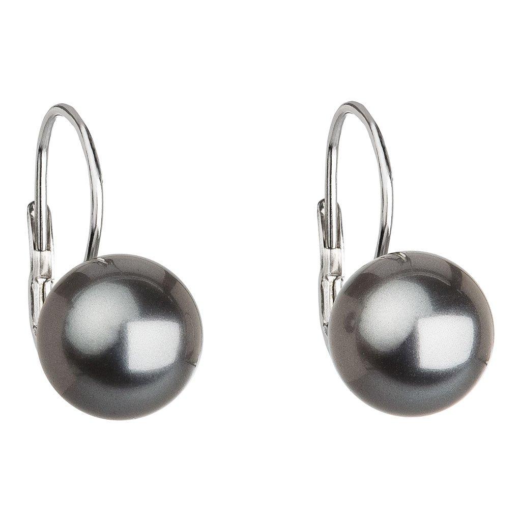 Visiace strieborné dámske náušnice s perlou Swarovski sivé Grey