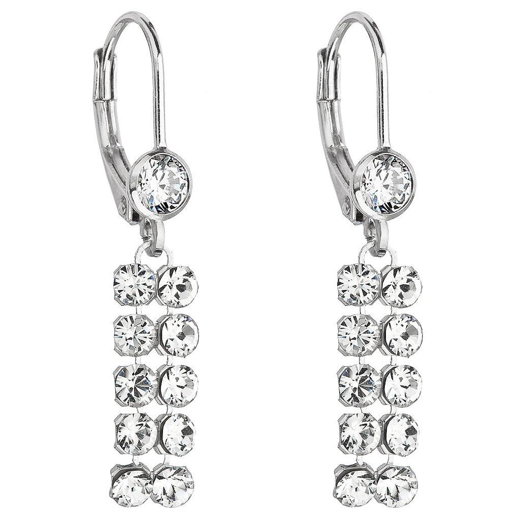 Swarovski Crystals visiace strieborné náušnice s čírymi krištálikmi