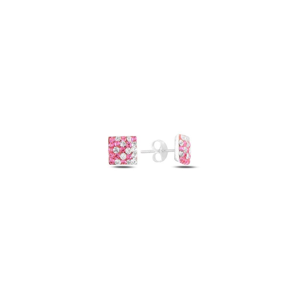 Štvorcové dámske strieborné náušnice vykladané bielymi a ružovými krištálikmi