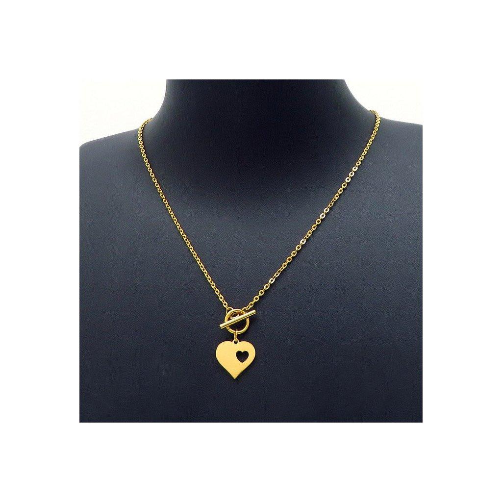 Dámsky náhrdelník s príveskom srdce zlatej farby