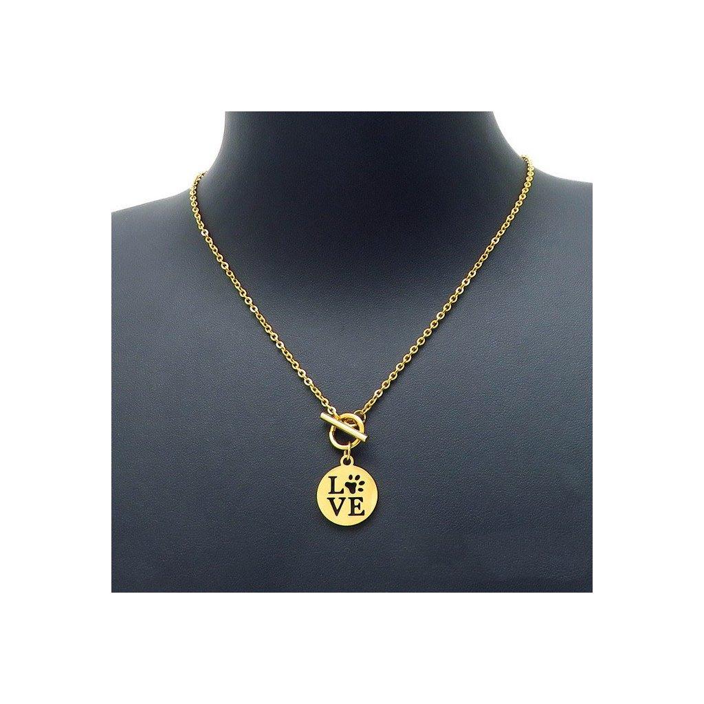 Dámsky náhrdelník Love Pet zlatej farby