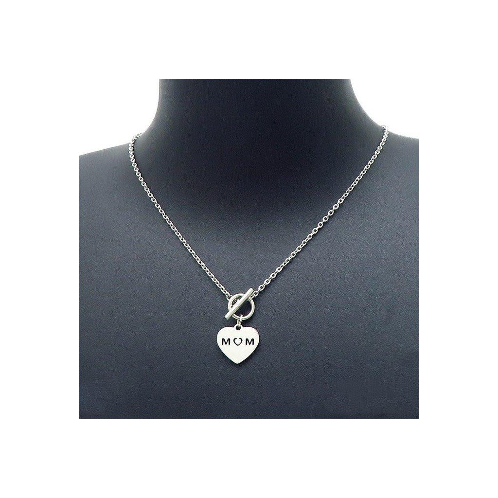 Dámsky náhrdelník srdce pre mamu s nápisom Mom
