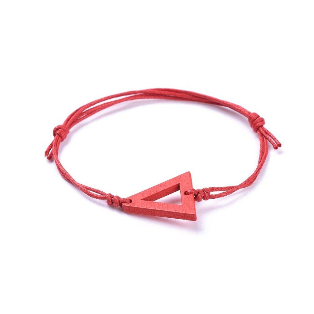 Tenký červený kabbalah náramok s trojuholníkom 1