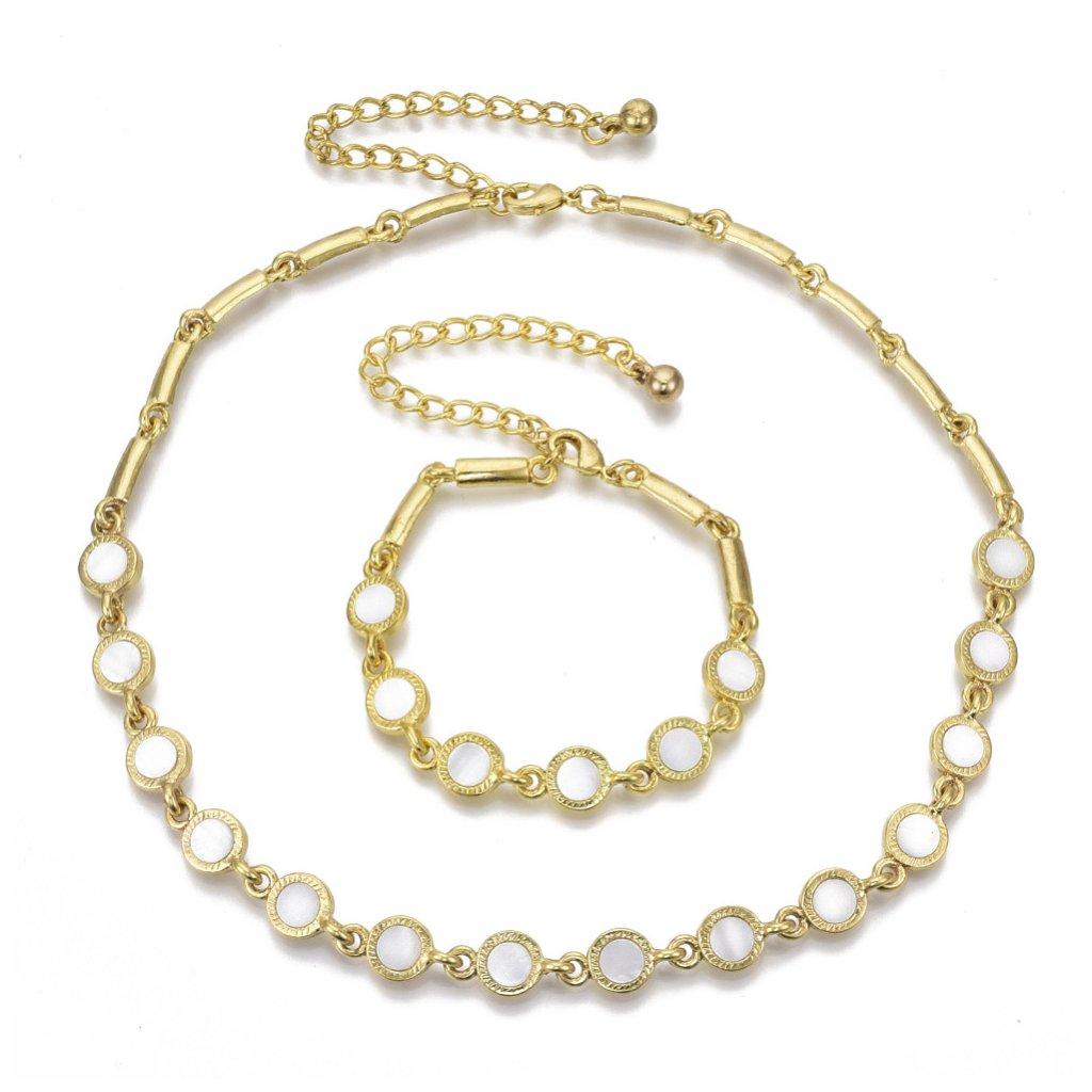 Dámska súprava náramok a náhrdelník zlatej farby 1
