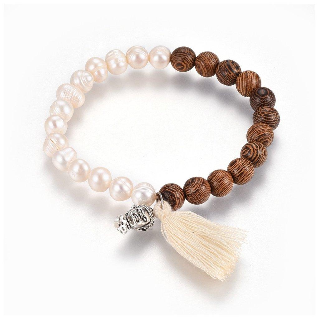 Náramok z drevených a perlových korálok s Buddhom a strapcom 1