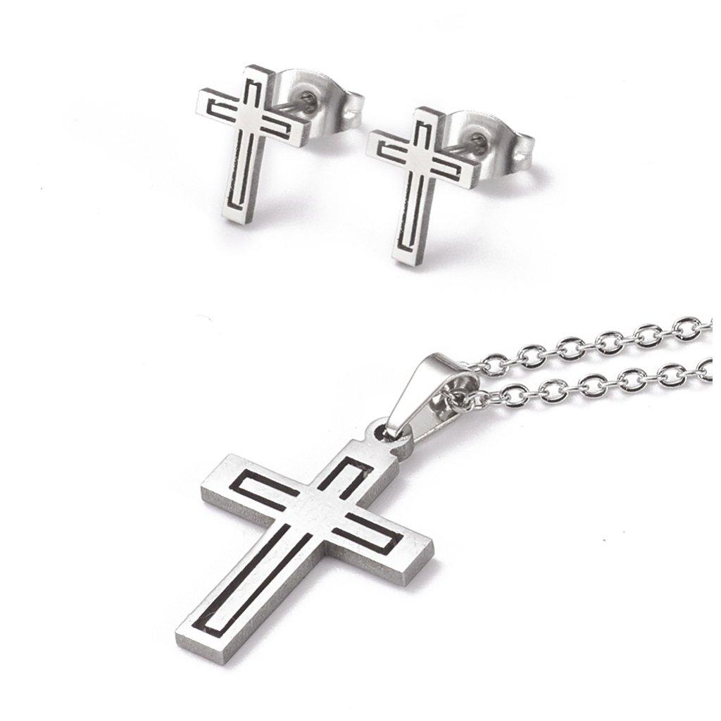Krížik náušnice a prívesok s retiazkou z chirurgickej ocele, dámsky set šperkov