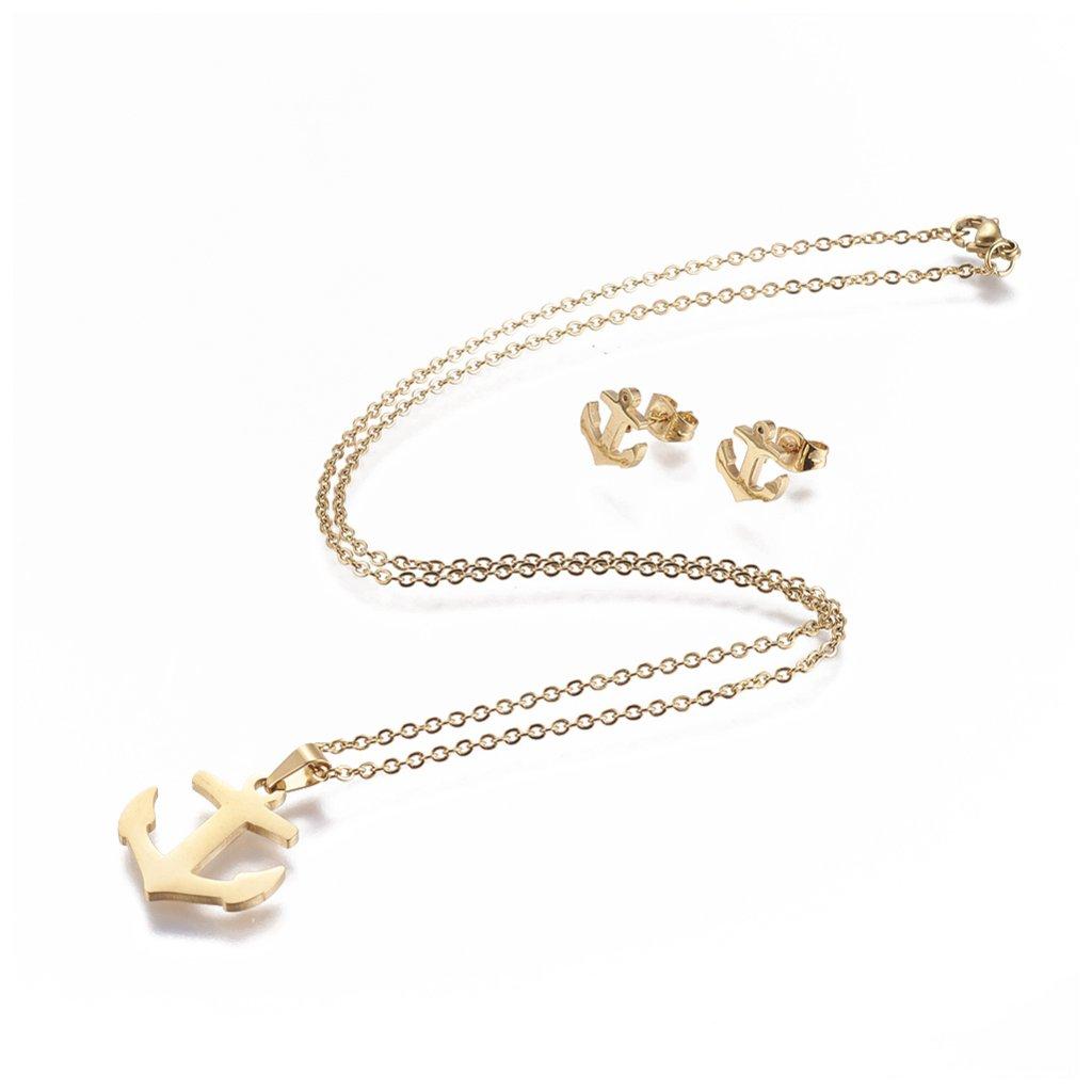 Súprava šperkov kotva náušnice prívesok a retiazka z chirurgickej ocele