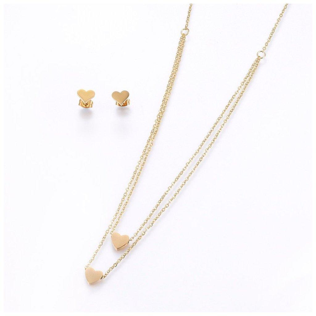 Srdiečková súprava náhrdelník a náušnice v zlatom prevedení z chirurgickej ocele