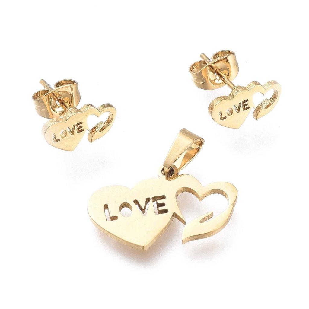Dámska oceľová súprava prívesok a náušnice vzor srdce Love Láska