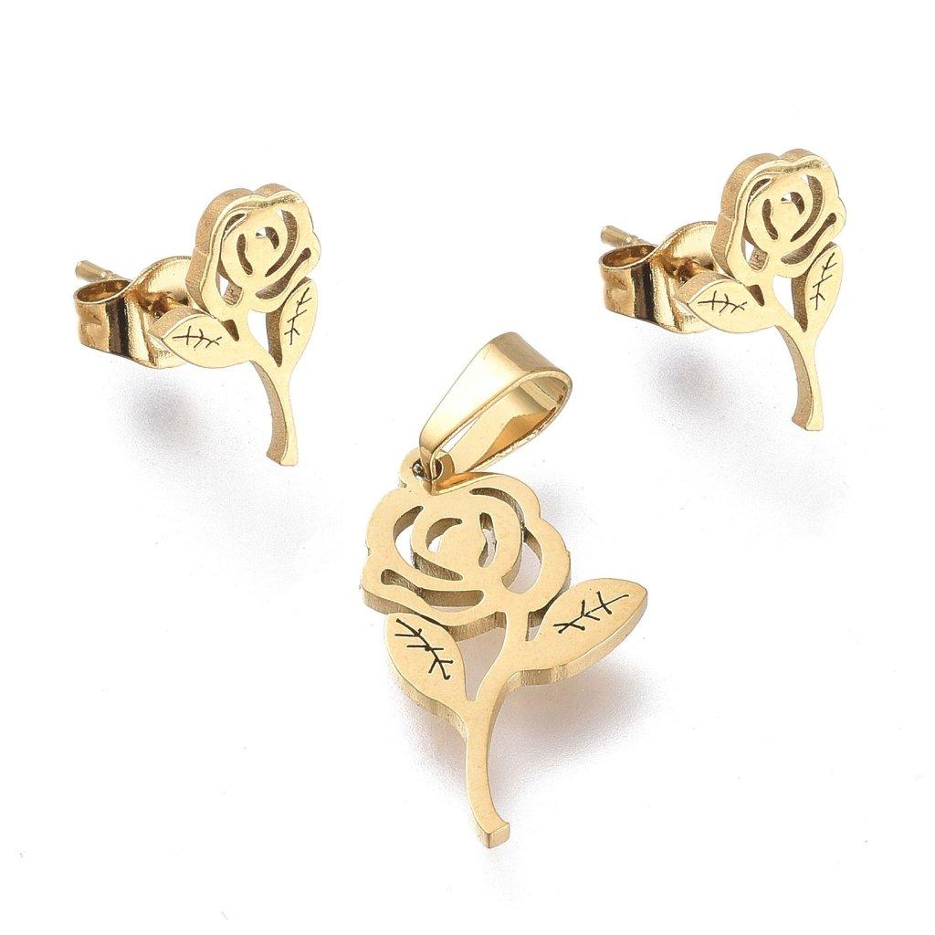 Ruža súprava šperkov prívesok a náušnice zlaté prevedenie chirurgická oceľ