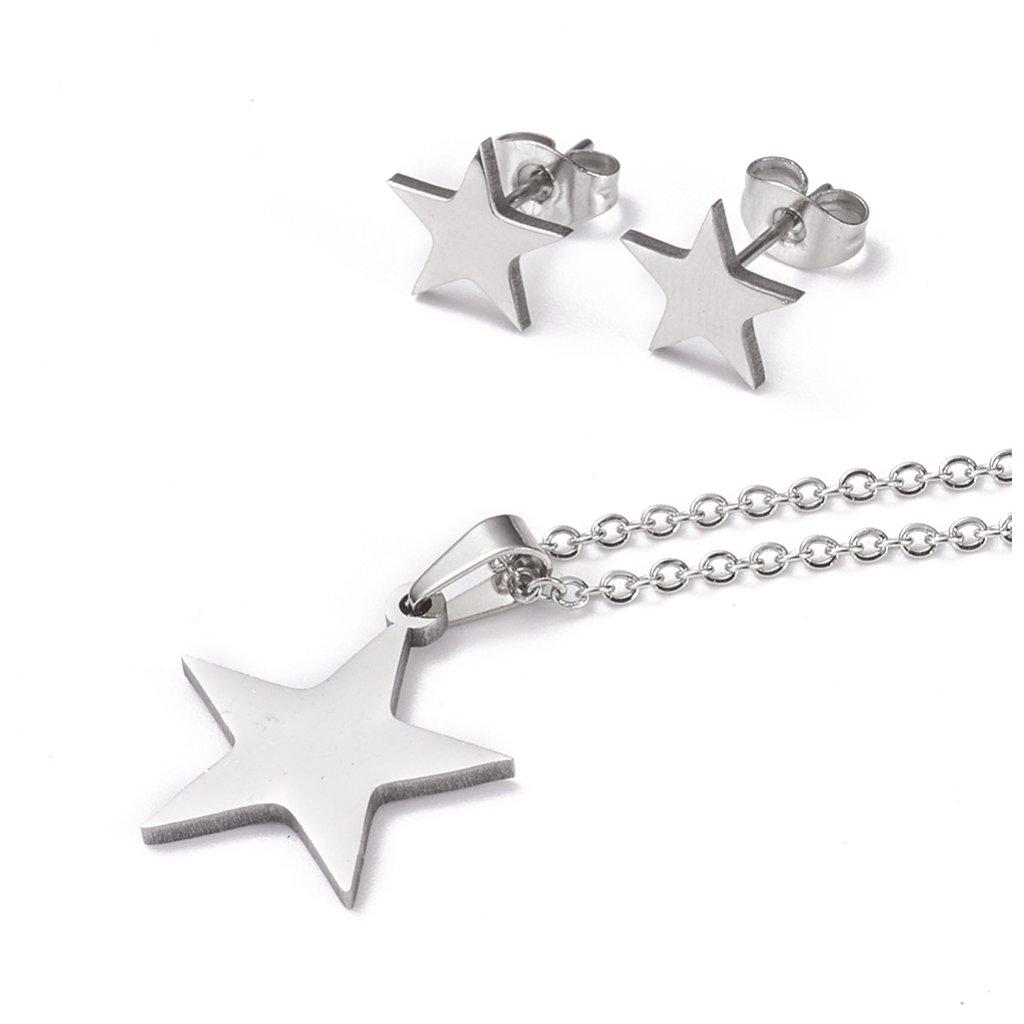 Päťcípa hviezda oceľová sada prívesok retiazka a náušnice z chirurgickej ocele