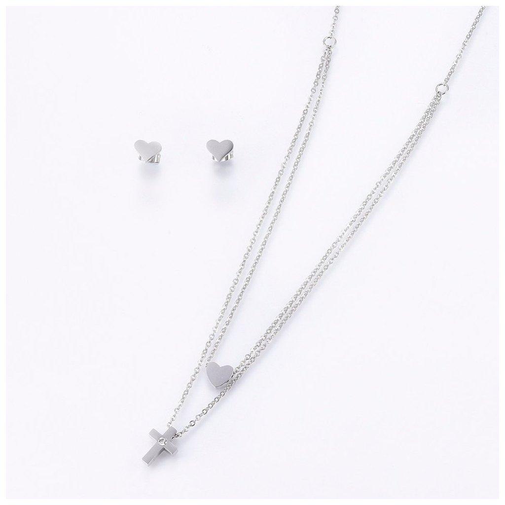 Krížik so srdiečkom dámska súprava náhrdelník s retiazkou a náušnice z chirurgickej ocele