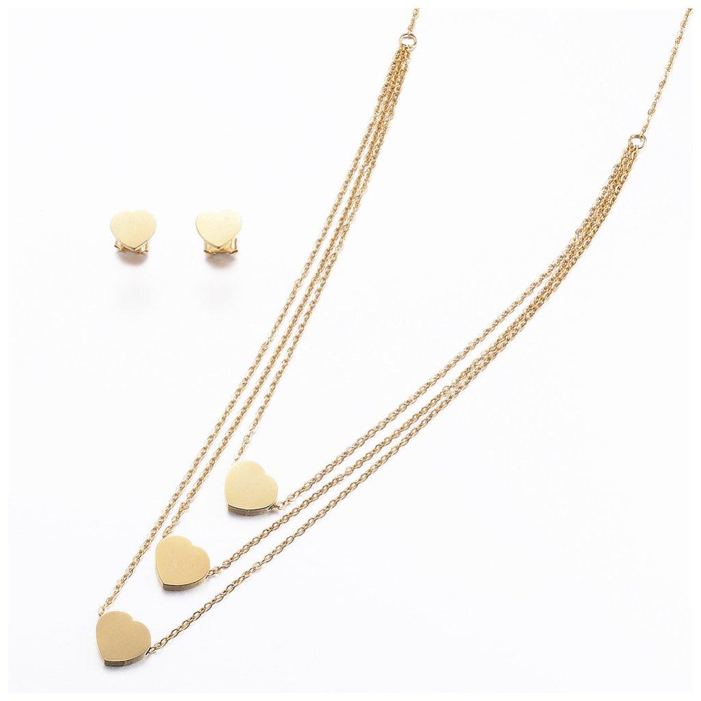 Srdiečková súprava zlaté srdce náhrdelník a náušnice z chirurgickej ocele