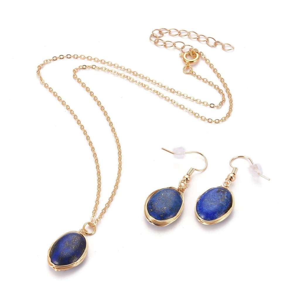 Dámsky set Lapis Lazuli náušnice prívesok a retiazka