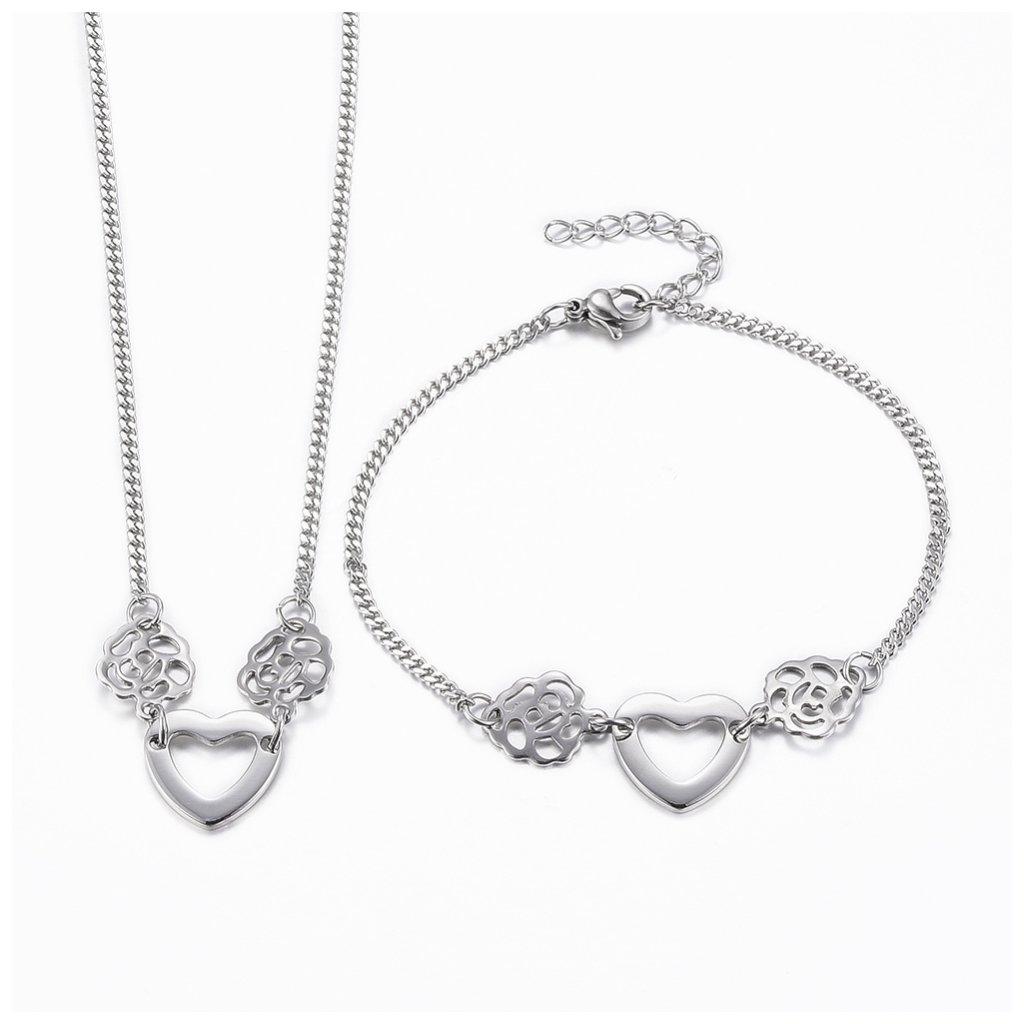 Dámsky náhrdelník a náramok srdce a kvet