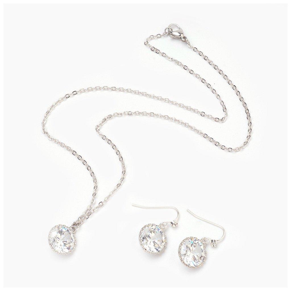 Dámska súprava šperkov s Cubic Zirkonia prívesok náušnice a retiazka z chirurgickej ocele