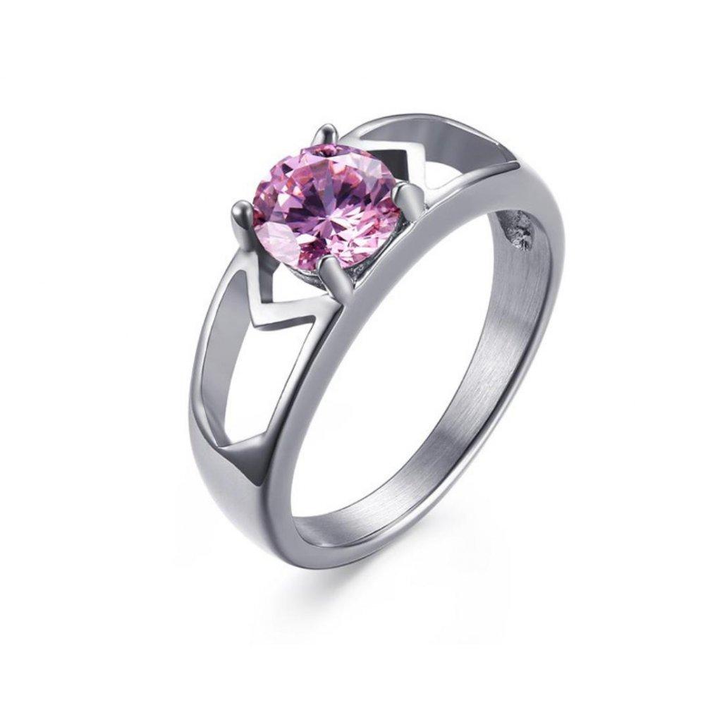Dámsky prsteň s ružovým zirkónom z chirurgickej ocele