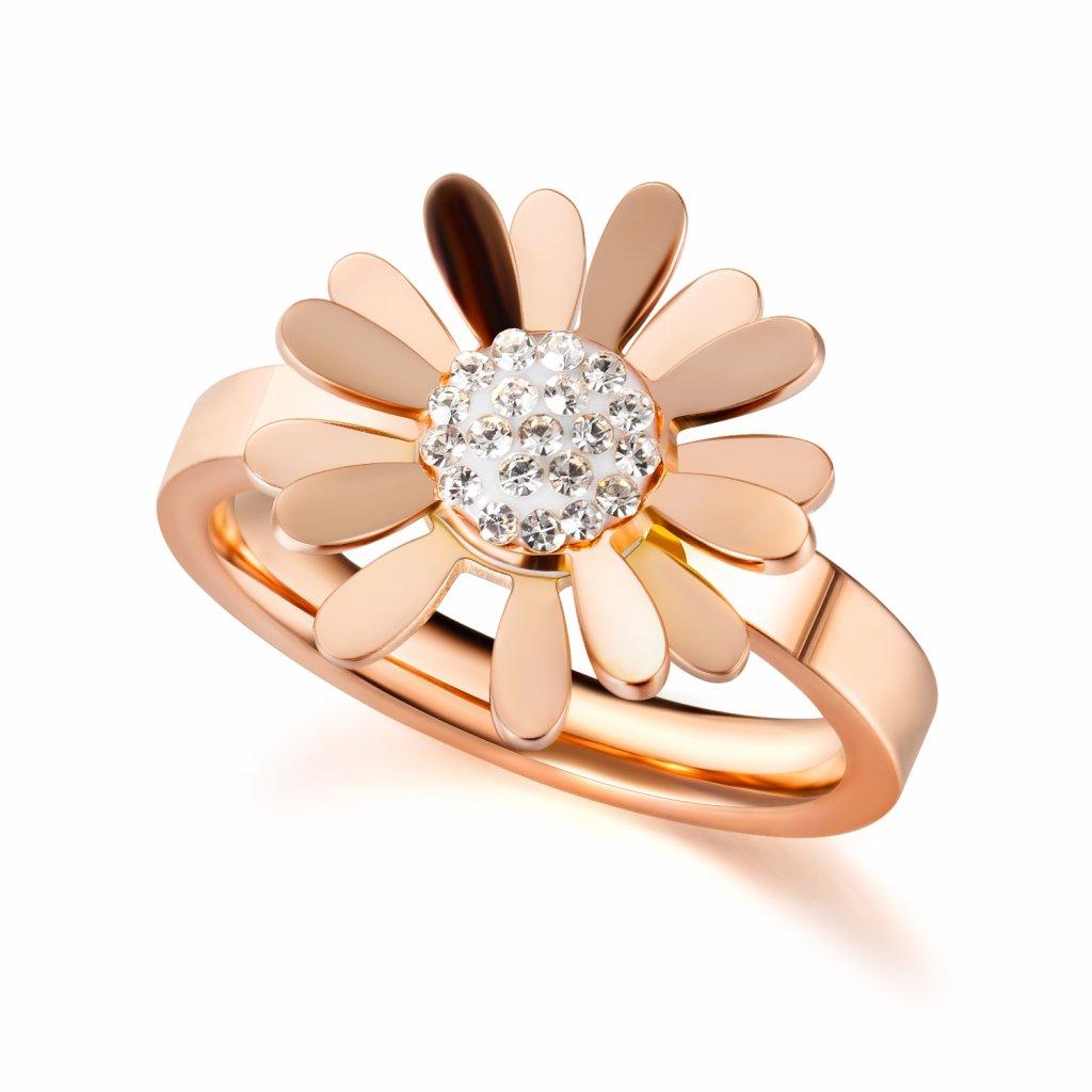 Dámsky prsteň s lupeňmi kvetov a zirkónikmi z chirurgickej ocele