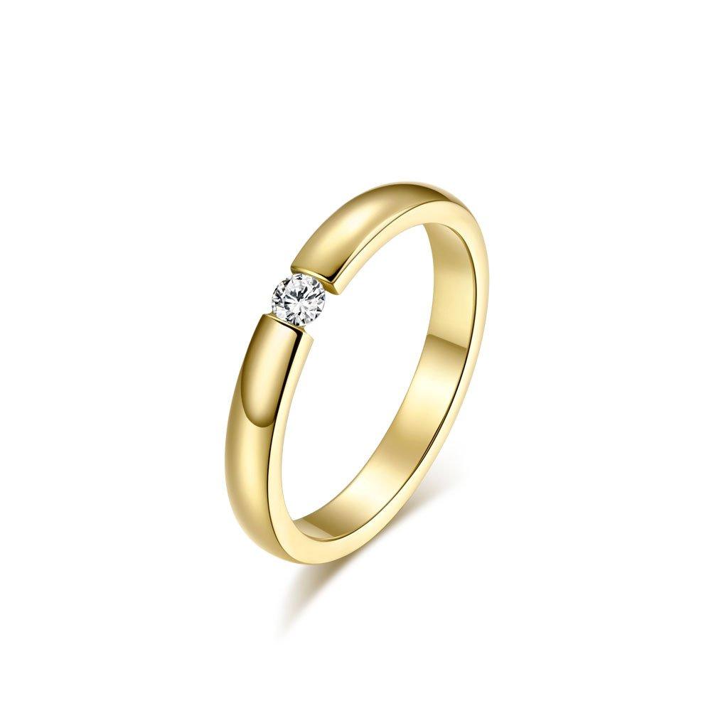 Dámsky prsteň s vysokým leskom AAA Cubic Zikrónia v zlatom prevedení z chirurgickej ocele