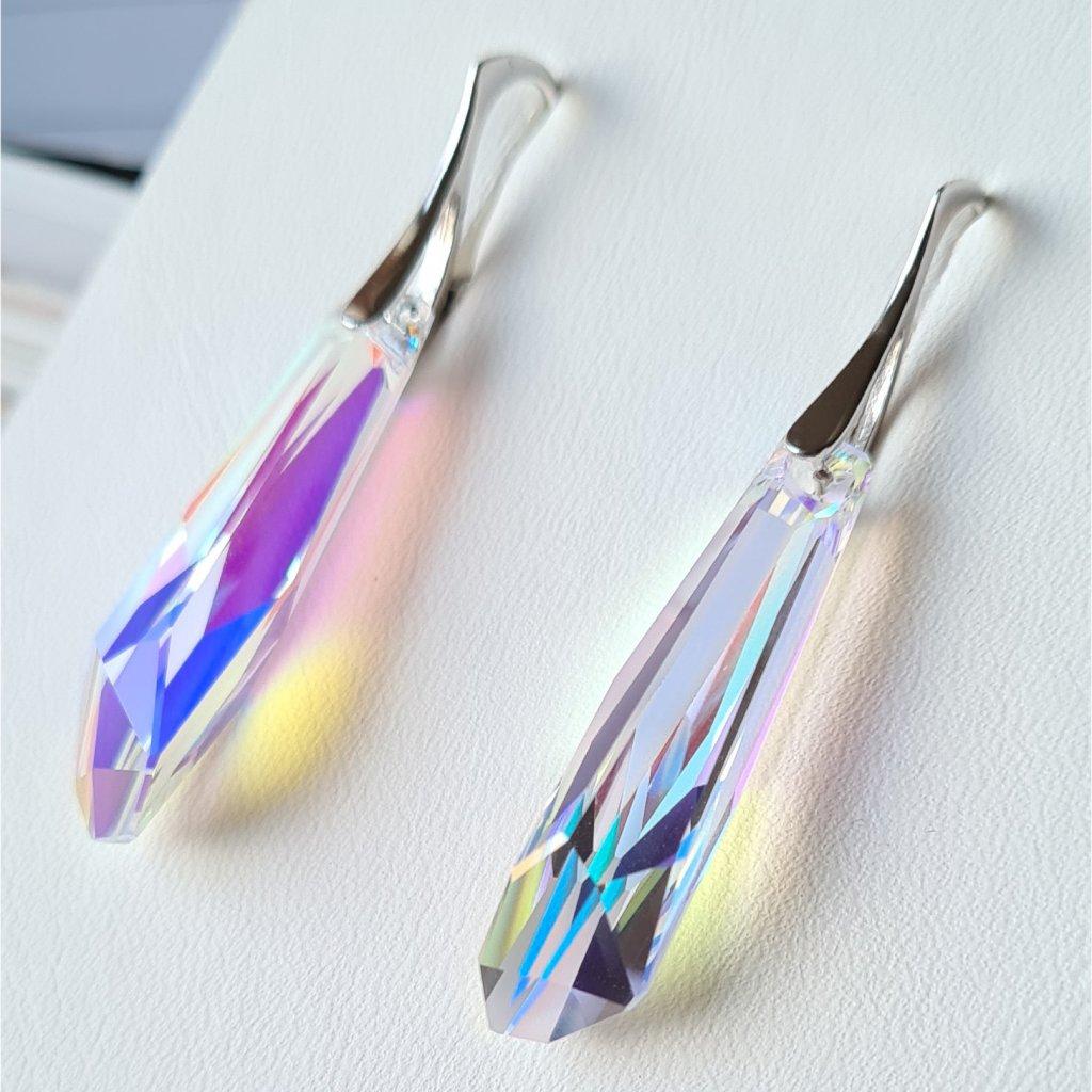 Swarovski Crystals exkluzívne strieborné náušnice s dlhými krištálikmi