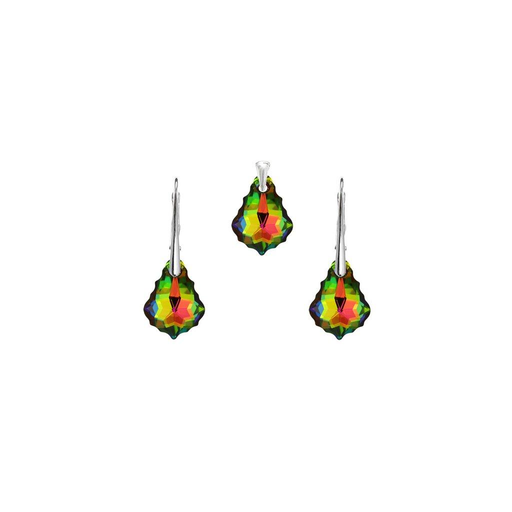 Prívesok a náušnice Barok Made With Swarovski Crystals zeleno oranžové odlesky