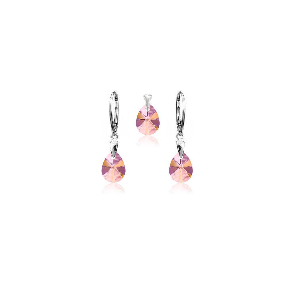 Strieborný set SWAROVSKI ELEMENTS v tvare slzy svetlo ružová farba