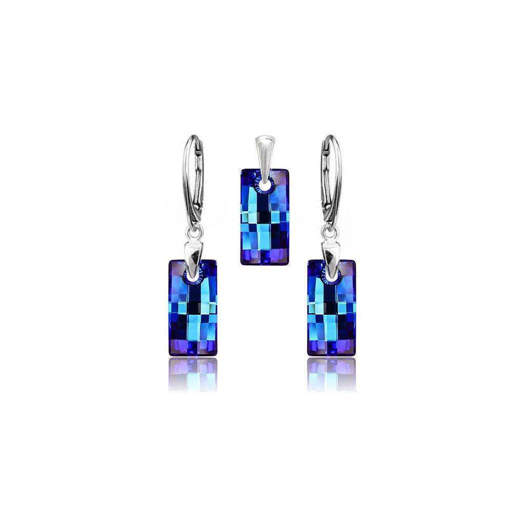 Strieborný set SWAROVSKI ELEMENTS v tvare obdĺžnika modrá farba