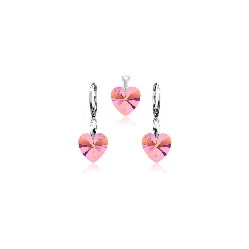 Strieborný set SWAROVSKI ELEMENTS v tvare srdca svetlo ružová farba